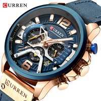 Reloj de cuarzo Chrono para hombre CURREN fecha automática 30 m resistente al agua correa de cuero genuino negocios militar relojes de pulsera para hombres regalo