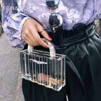 Bolsa de plástico transparente de PVC de acrílico transparente bolsa de la caja de Dubai para mujer vintage retro noche fiesta bolso 2019 nuevo verano bolsa