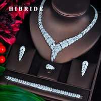 HIBRIDE nueva 4 piezas collar pendiente anillo pulsera accesorios de la boda joyería nupcial boucle d oreille al por mayor N-703