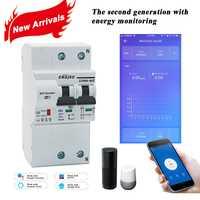 La segunda generación 2 P WiFi inteligente interruptor de circuito con el control de la energía y de función para Alexa de Amazon y Google A casa