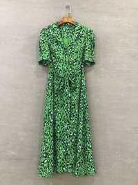 Las mujeres nuevo 2019 primavera animal vestido estampado de leopardo de piel elegante de manga corta vintage camisa verde vestidos verdes cortos de fiesta
