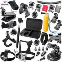 SnowHu para Gopro accesorios para ir pro hero 7 6 5 4 3 kit de montaje para SJCAM SJ7000 para xiaomi yi 4 K cámara para eken h9 GS16