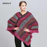 Abrigo Mujer Poncho Cape manteau d'hiver femmes Ponchos capas Bat pull couleur rayure à tricoter marque de luxe glands étole 115