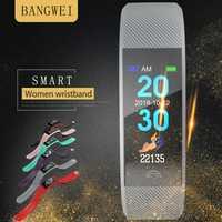 BANGWEI reloj inteligente monitor de ritmo cardíaco IP67Waterproof fitness tracker para Android IOS relojes deportivos