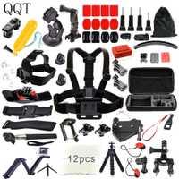 QQT para los accesorios de Gopro para ir pro hero 7 6 5 4 3 kit de montaje para la cámara SJCAM SJ4000 xiaomi yi 4 k para eken h9 trípode de la Cámara de los deportes
