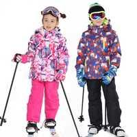 Niños traje de esquí niños marcas impermeable a prueba de viento cálido niñas niño y conjunto de nieve Pantalones de invierno esquí y snowboard chaqueta Niño
