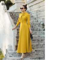 Pajarita elegante vestido largo lujo mujeres sólido amarillo gris azul Maxi vestido con bolsillo Casual otoño vestido largo partido