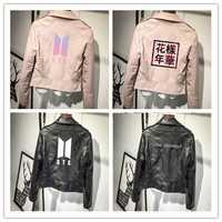 BTS Bangtan niños de cuero de la PU chaquetas de Rosa/Negro mujeres Kpop Streetwear cuero Amor mismo respuesta Outwear chaqueta abrigos