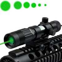 Tactical ajustable 5 MW verde mira láser designador/iluminador/linterna W/montaje del tejedor Caza láser con 21mm rail