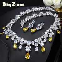 BlingZircons lujoso africana de Zirconia cúbica joyería de boda de Nigeria amarillo nupcial conjuntos de joyas para las mujeres JS091