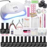 Uñas con lámpara UV/48/54/72 W acrílico líquido todo para manicura y pedicura, Kit de Herramientas 12 color Gel de esmalte de uñas Kit de uñas con Base y abrigo