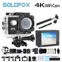 Goldfox H9 estilo acción cámara Ultra-HD 4 K 170D Wifi acción del deporte de la Cámara 30 M impermeable Go Pro casco de bicicleta mini cámara DVR