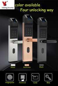 Yobang de seguridad Anti-robo inteligente biométrico de huellas dactilares bloqueo sin llave inteligente cerradura de la puerta de huellas dactilares + contraseña + tarjeta de identificación + las llaves