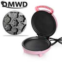 DMWD máquina de hacer waffles de dibujos animados Pancake automática Mini Pizza horneada máquina de pastel multifunción hornear sartén para el desayuno EU US