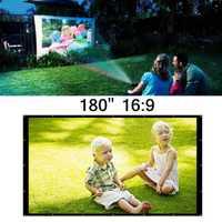 16:9 180 pulgadas Portable blanco del proyector pantalla de cine en casa al aire libre viajes cine plegable Roll Up protección pantalla del proyector