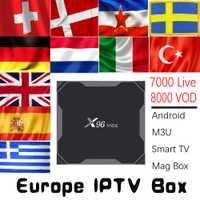 X96 MAX 2G16G/4G32G/4G64G Android 8,1 TV Box con 7000 8000 vivo VOD REINO UNIDO DE ESPAÑA Italia holandés Europa nórdica HD IPTV Media Player