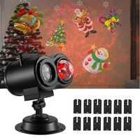 12 luces de Navidad led impermeables al aire libre de proyección de copo de nieve lámpara de césped proyector de onda de agua Halloween decoración de Navidad
