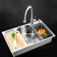 Fregadero de cocina de acero inoxidable multifuncional único tazón sobre mostrador o udermount sumideros de 1,2mm de espesor cepillado fregaderos de cocina