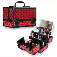 Estuche de cosméticos para mujer, organizador de maquillaje con marco de aleación de aluminio de alta calidad, con espejo, caja de almacenamiento de gran capacidad