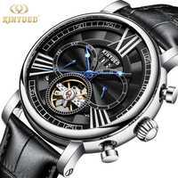Reloj esqueleto KINYUED Tourbillon correa de cuero negro relojes de hombre fecha automática relojes de pulsera de hombre mecánico vestido Casual de moda