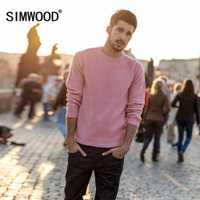 SIMWOOD nueva marca suéter de lana de los hombres de la primavera de 2019 de moda de manga larga Jersey de punto de los hombres suéter de cachemira de alta calidad 180369