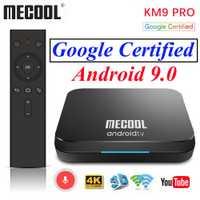 Certificado por Google Android 9,0 caja de TV KM9 Pro ATV 4 GB 32 GB Amlogic S905X2 Control de voz/2,4/5 G Dual Wifi Streaming 4 K Media Player