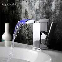 Grifo LED cascada cromo pulido mango de una sola palanca baño lavabo mezclador grifo agua energía LED cascada grifo
