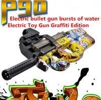Caliente P90 pistola de juguete eléctrica Graffiti edición Live CS Assault Snipe arma de agua suave pistola de ráfaga Juguetes Divertidos al aire libre para chico