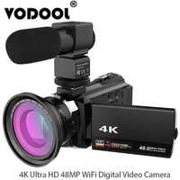 4 K 1080 P 48MP WiFi cámara Digital de vídeo videocámara Recorder w/0.39X de ángulo ancho lente Macro micrófono adoptar para Novatek 96660 Chip