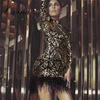 De alta calidad de oro lentejuelas de cuello redondo y manga larga de piel bajo Bodycon vendaje vestido de noche vestido de fiesta