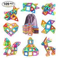 109 Uds. Bloques magnéticos de diseño de tamaño grande juguetes de construcción y construcción de plástico juego de azulejos magnéticos juguetes educativos para niños