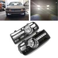 Nueva 1 par coche vehículo inferior delantera parachoques del lado de rejilla con LED Luz de niebla y DRL blanco/amarillo para Volkswagen GOLF MK4