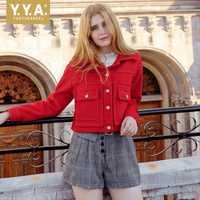 Marca 2019 nueva mujer de lana chaqueta rojo sólido Oficina corto abrigo chaqueta de Otoño de las mujeres Streetwear ropa mujer