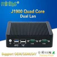2 Ethernet mini pc Intel j1900 quad core mini itx caso sin ventilador de escritorio computadora soporte SSD de 128gb emmc 4gb de ram para windows 10