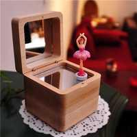 Caja de música de madera de bailarina de Ballet Castillo en el cielo cajas musicales de feliz cumpleaños mecanismo regalos para novia bebé regalo de Navidad