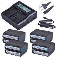 4 pc 7200 mAH NP-F970 NP-F960 NP F960 F970 Caméra Batterie + Ultra 3X rapide Chargeur Rapide pour Sony F930 F950 F770 F570 F970 CCD-RV100