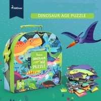 Mideer 104 Uds niños dinosaurio rompecabezas ciencia rompecabezas de dibujos de animal juguete niños educación temprana juguete caja de regalo