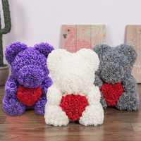 40 cm tamaño grande 2019 Día de San Valentín regalo Rosa Oso de La Flor de regalo de boda de novia, regalo de aniversario, lindo oso de peluche los niños de juguete