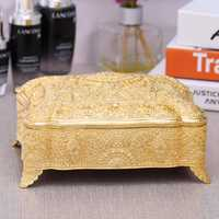 Caja de joyería de metal de lata antigua europea bastoncillo de algodón soporte de almohadilla de maquillaje almacenamiento contenedores organizador de mesa Z147