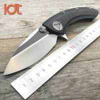 LDT tiburón ballena cuchillo plegable D2 hoja de titanio G10 manejar Flipper al aire libre Camping cuchillo de bolsillo de supervivencia cuchillos de caza EDC herramienta