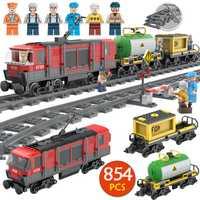 854 unids Technic City Series Building Block Compatible Legoingly Train Tracks Slideway montaje cumpleaños juguete para regalo de niños