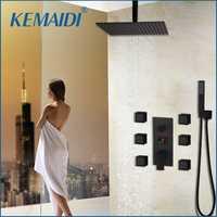 KEMAIDI baño grifo de la ducha negro temperatura pantalla Digital ducha de masaje del cuerpo del sistema Jets Torre columna de ducha grifo