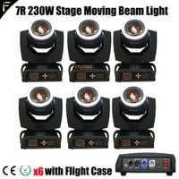 6 xLot dividir colores Spot Beam 230 7r proyector cabeza móvil Sharpy ópera haz R7 230 w con girar arco iris efecto Incl FlightCase