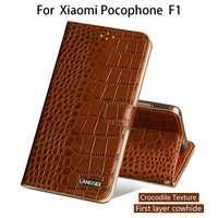 Caja del teléfono del tirón para Xiaomi Pocophone F1 para A1 A2 Lite Max 2 3 Mix2s Redmi Nota 5 genuino piel de cocodrilo textura de la cubierta