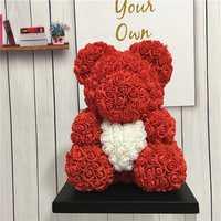 40 cm decoración de la boda Rosa oso flor Artificial novia flores de aniversario, regalos del Día de San Valentín