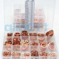 15 tamaños junta plana de cobre sellado Spacer Set