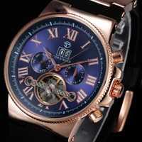 Reloj Mecánico Tourbillon FORSINING para hombre, reloj automático con esfera azul romana, reloj deportivo automático de oro rosa para hombre