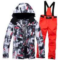2019 nuevo traje de esquí de invierno para hombre, ropa de esquí de nieve para hombre, conjunto de ropa para hombre, impermeable al aire libre, chaquetas y pantalones de Snowboard a prueba de viento