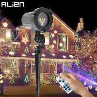 Proyector de luz láser de copo de nieve árbol de Navidad estrella estática remoto RGB exterior impermeable Navidad vacaciones luces de Ducha