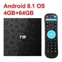 Nuevo T9 caja de TV inteligente Android 8,1 4 GB 32 GB 64 GB Rockchip RK3328 1080 P H.265 4 K google Player tienda de Netflix, Youtube PK X96 max T95Q
